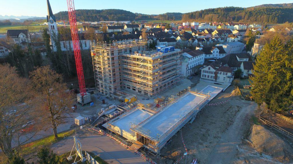 Luftbild Stand Baustelle Mühle Rickenbach-Wil Stand März 2020